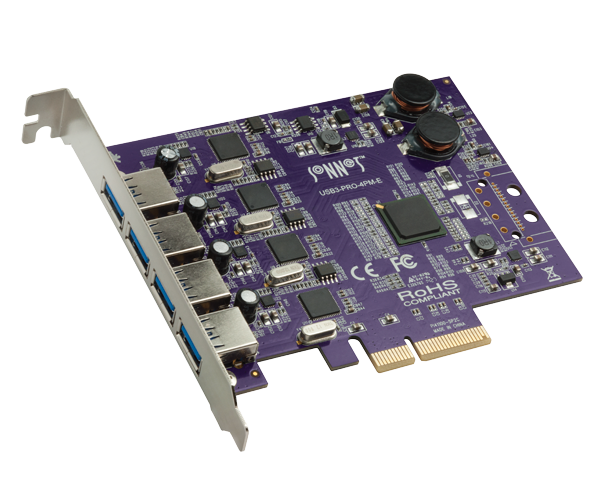 Allegro Type A USB 3.2 4-Port PCIe card with four 5Gbps ports & USB charging