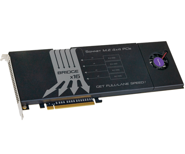 Sonnet M.2 4x4 PCIe Card (Four M.2 NVMe SSD slots on a PCIe 3.0 x16 card • Add your own SSDs)