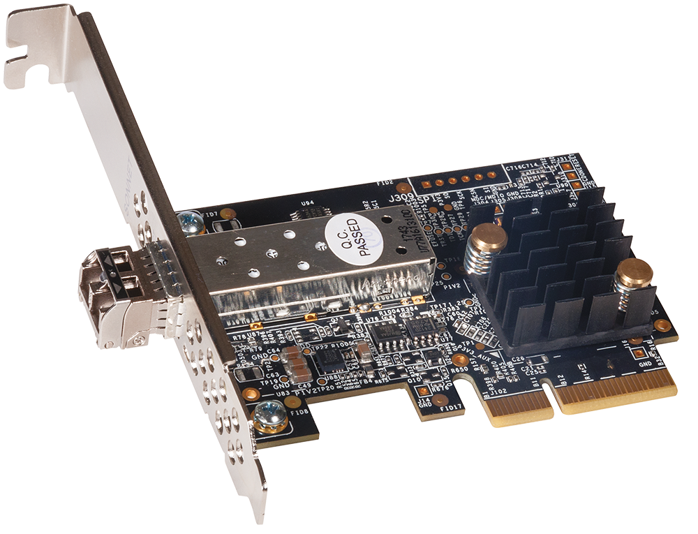 Solo 10G SFP+ 10GbE PCIe Card with short-range SFP+ module
